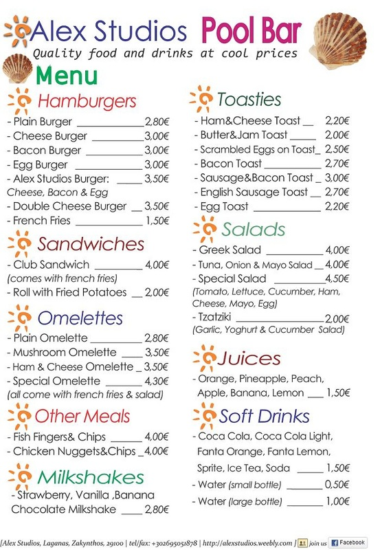 Is there any food menu & drink list to have a look? - Alex Studios ...